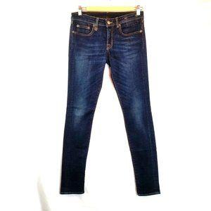 R13 Jeans Dark Wash Indigo Blue Skinny Mid-rise